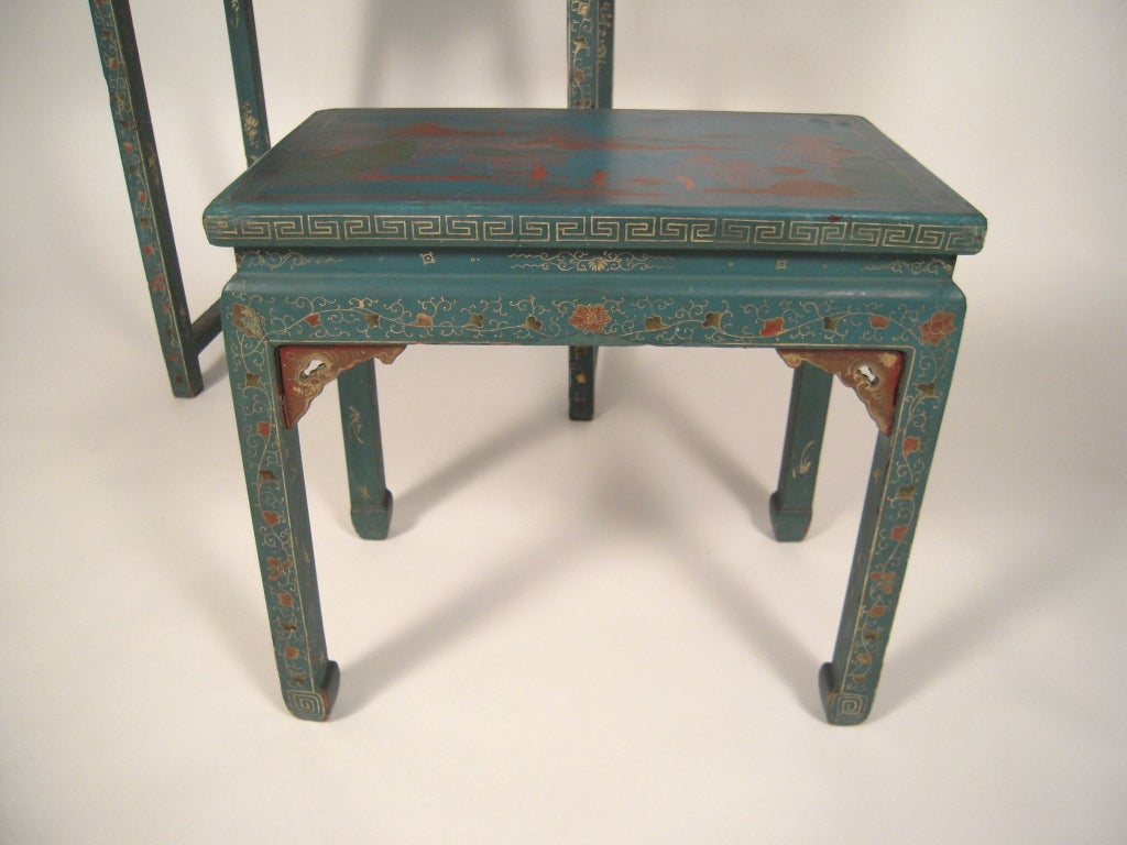 Wonderful image of 19th C Chinoiserie Blue Lacquered Dressing Table and Stool at 1stdibs with #81644A color and 1024x768 pixels