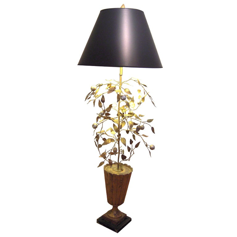 Chic Italian Gold And Silver Tole Lemon Tree Floor Lamp At