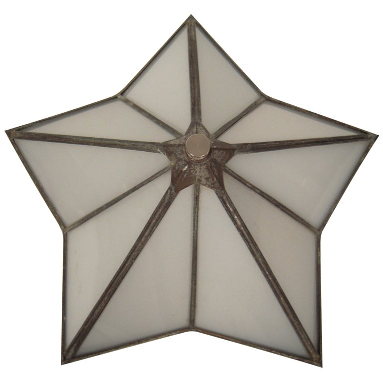 Art Deco Period Star Shaped Wall Sconce or Ceiling Light