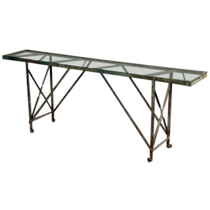 Painted metal console table at 1stdibs for Painted foyer tables