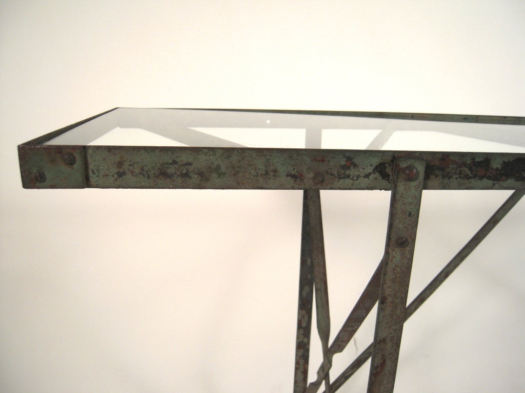 Painted metal console table at 1stdibs Metal console table