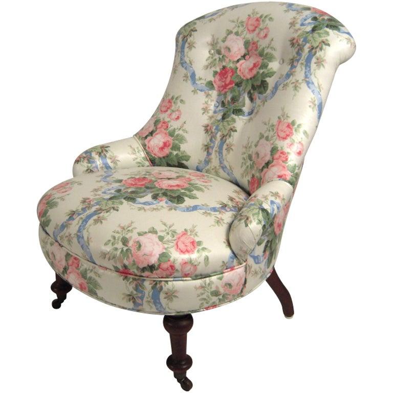 A 19th C Slipper Chair In Floral Chintz Circa 1870s 1880s
