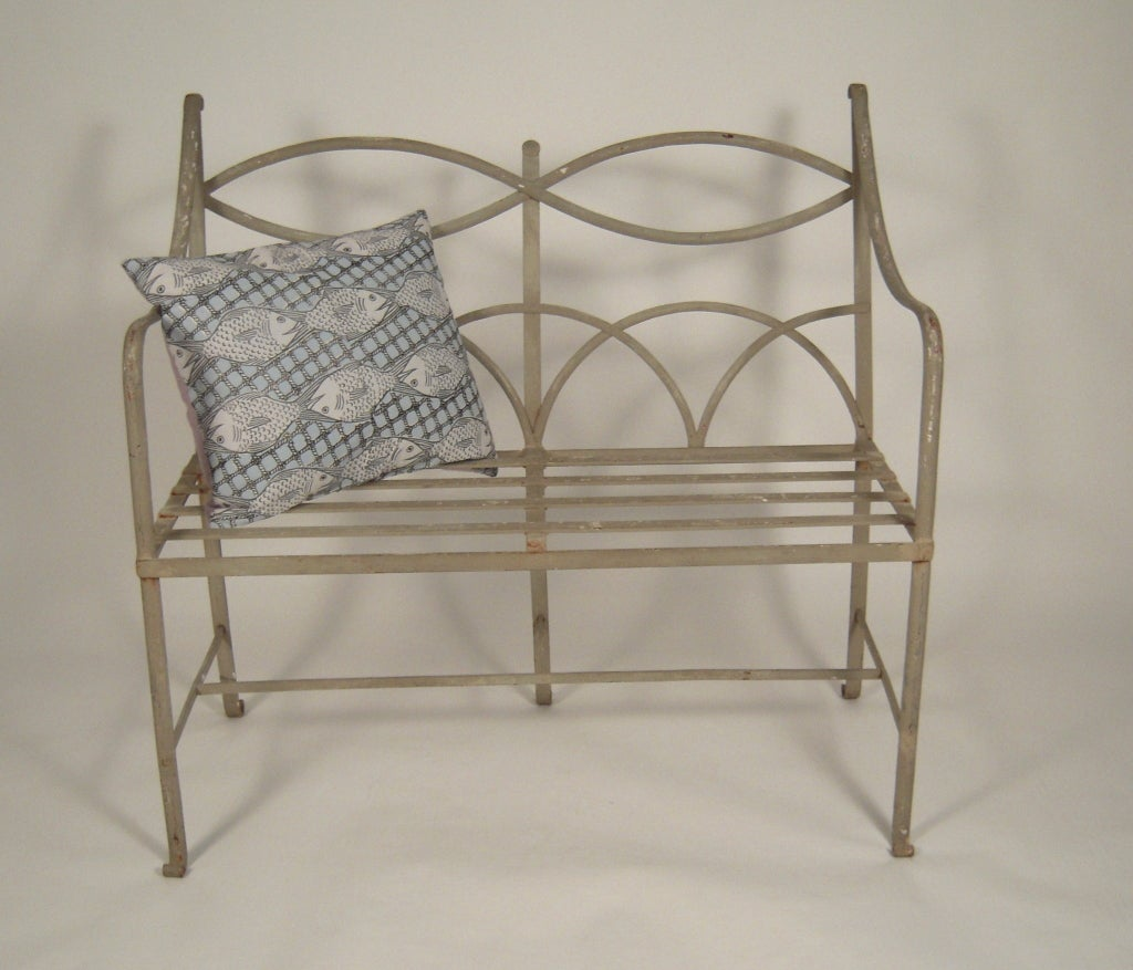 Regency style wrought iron garden bench at 1stdibs Wrought iron outdoor bench
