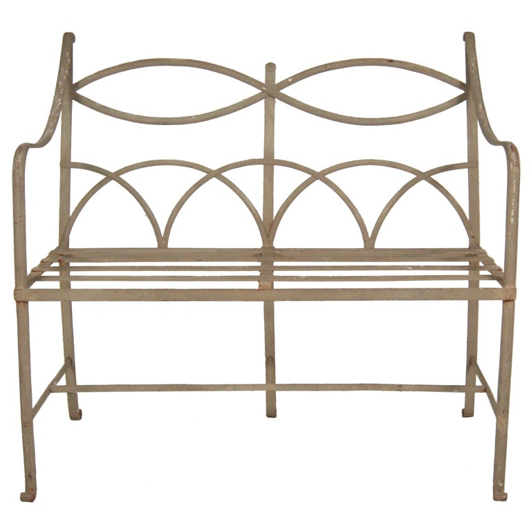 Regency Style Wrought Iron Garden Bench At 1stdibs