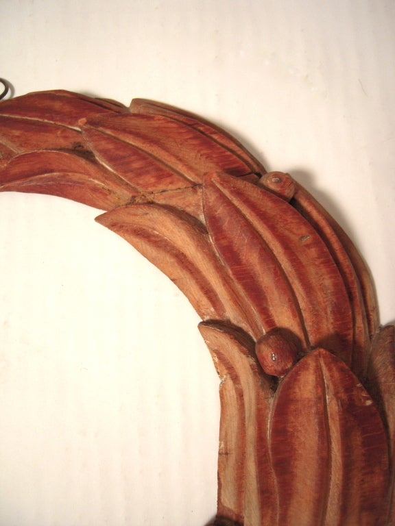 Pair of 19th C American Carved Wood Laurel Wreath Architectural Ornaments image 5