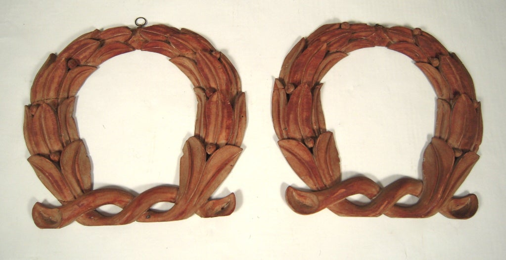 Pair of 19th C American Carved Wood Laurel Wreath Architectural Ornaments For Sale 5