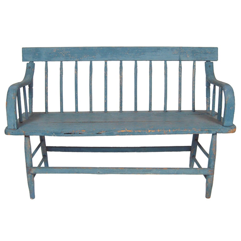 19th Century American Country Blue Painted Bench At 1stdibs