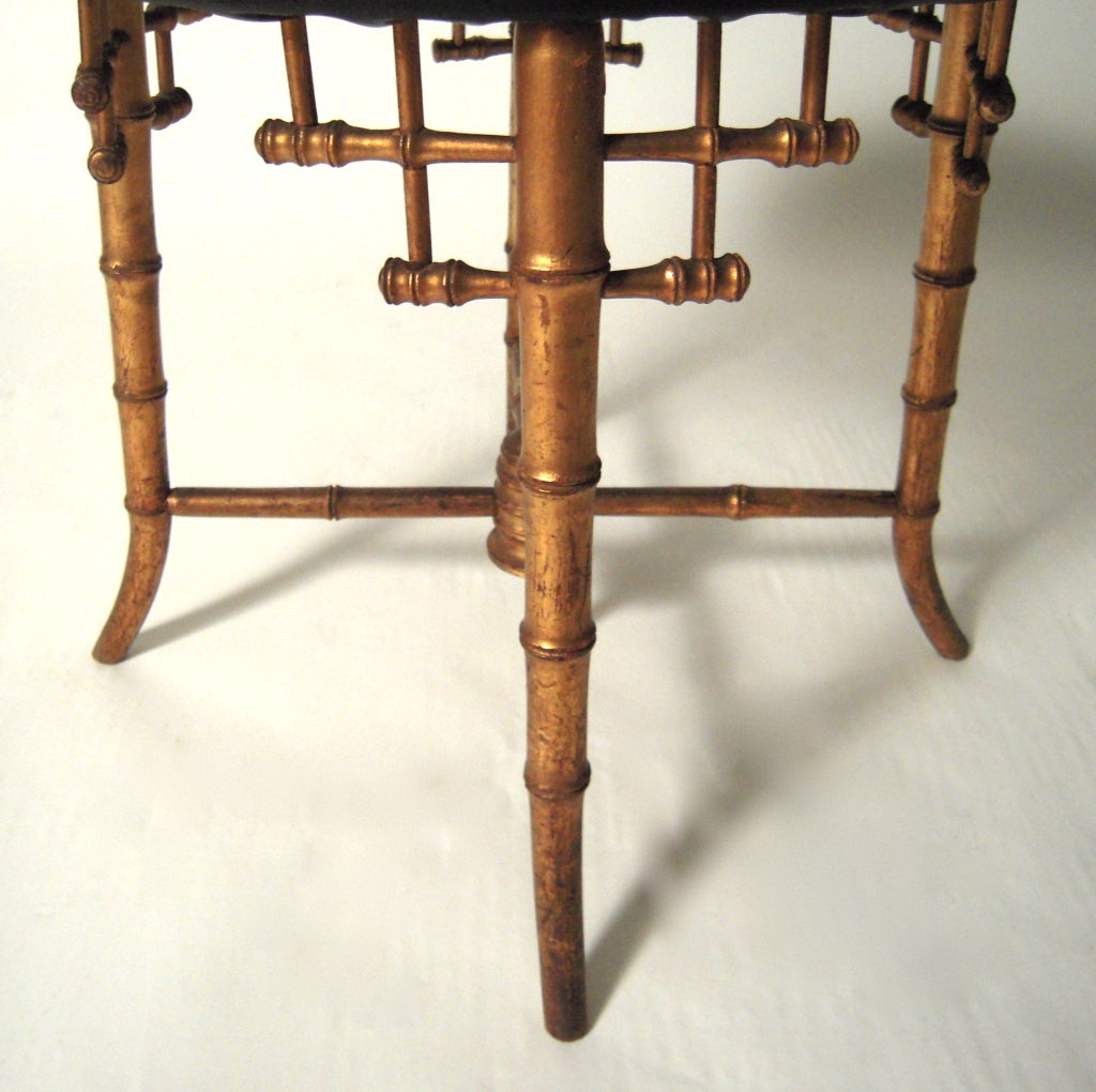 Aesthetic Movement Gilded Faux Bamboo Stool At 1stdibs