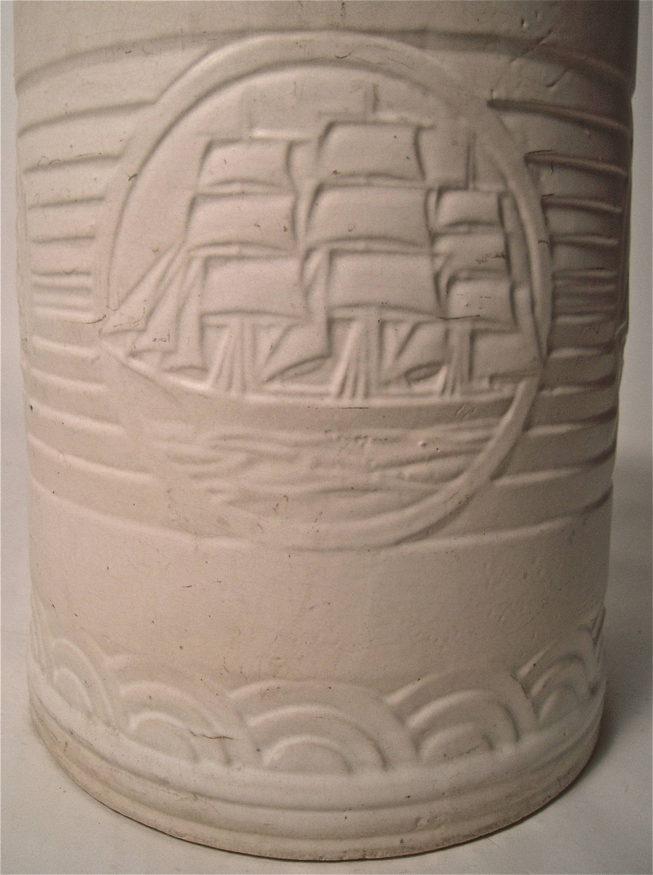 Nautical Art Deco Pottery Waste Basket Or Planter At 1stdibs