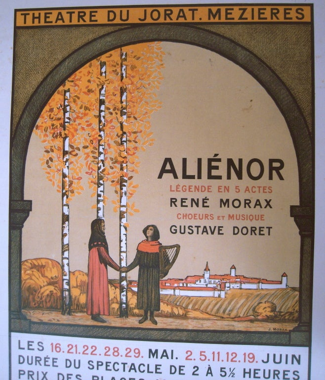 20th Century Jean Morax Eleanor of Aquitaine Swiss Theater Poster  For Sale