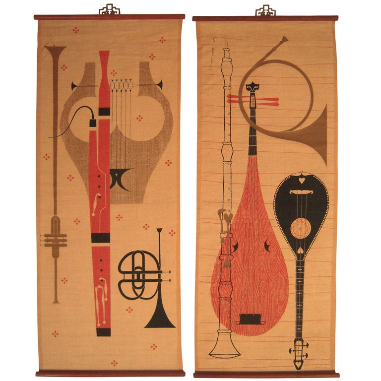 Wall Decor Ross : Pair of ross littell mid century wall hangings at stdibs
