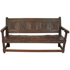 Carved English Oak Settle or Bench