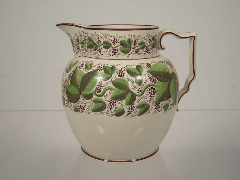 Large Staffordshire Hand Painted Grape Vine Pitcher At 1stdibs