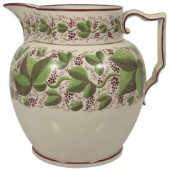 Large Staffordshire Hand Painted Grape Vine Pitcher