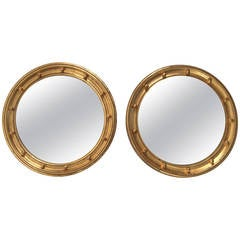 Matched Pair of Regency Style Gitwood Convex Mirrors