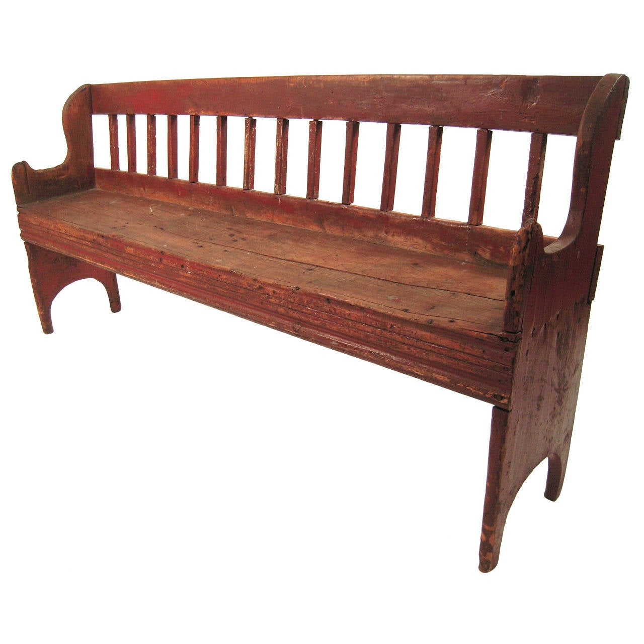 American Country Small Red Painted Bench At 1stdibs