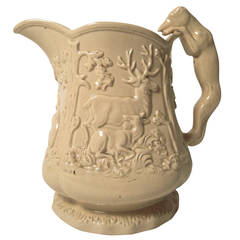 Large 19th Century American Stag and Doe Pitcher with Hound Dog Handle