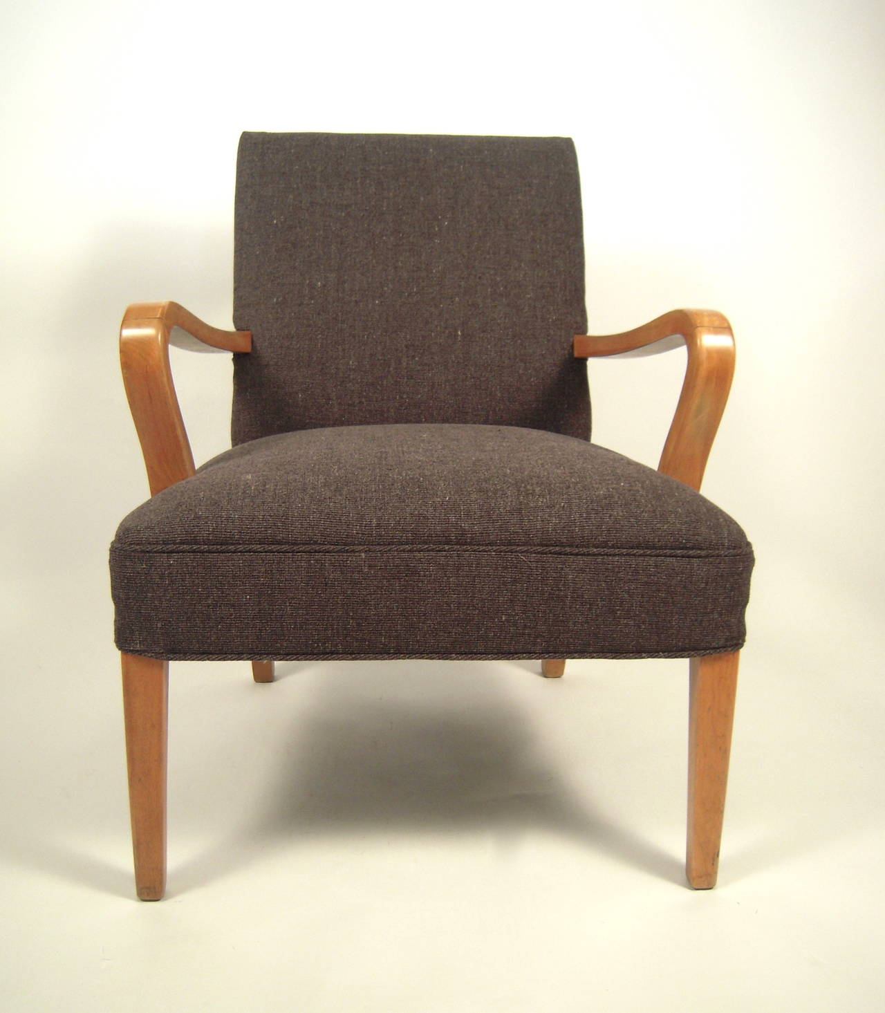 Mid century modern bentwood upholstered armchair at 1stdibs for Mid century modern armchairs