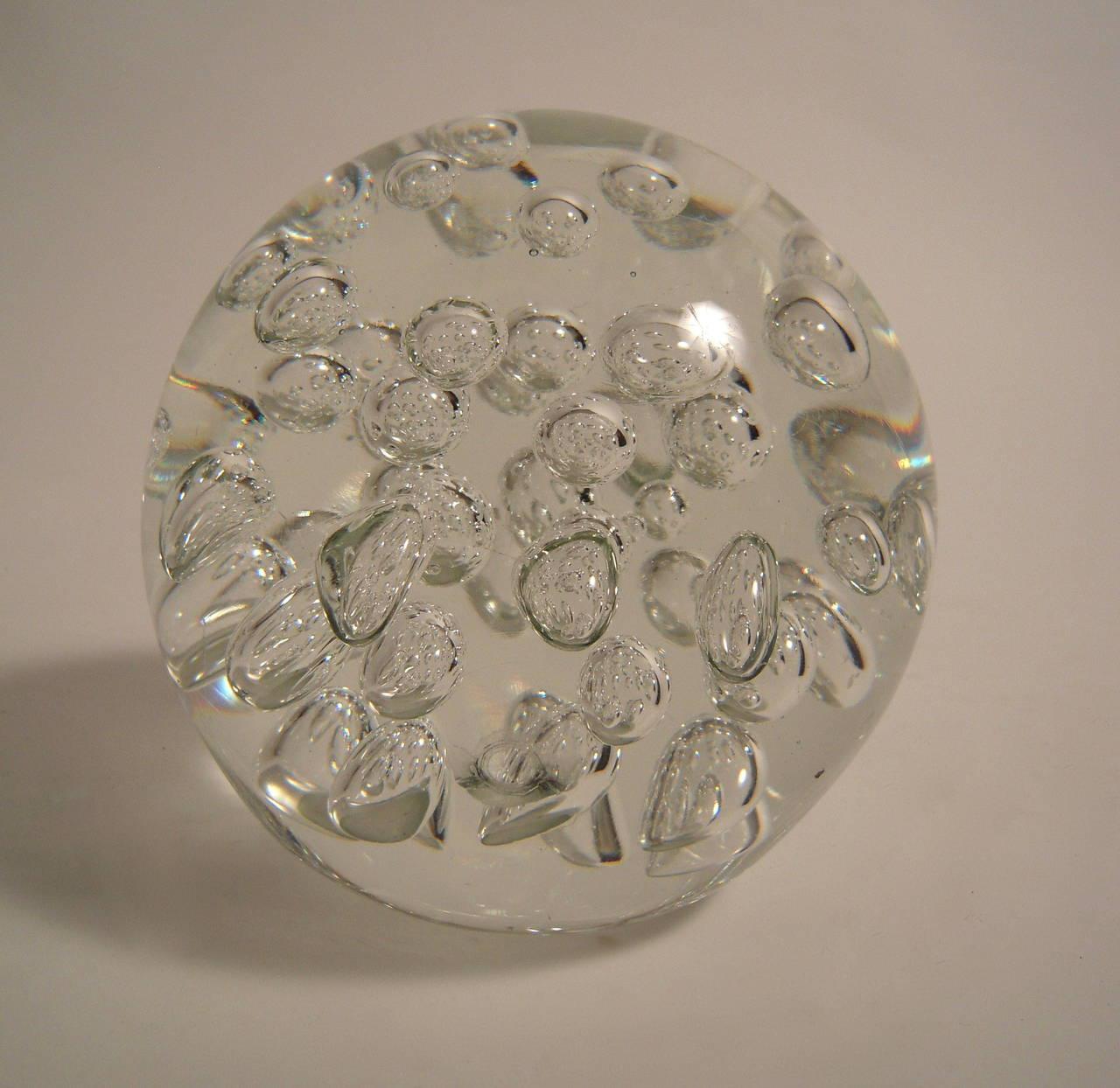 Mid Century Modern Large Glass Bubble Paperweight Or Doorstop For