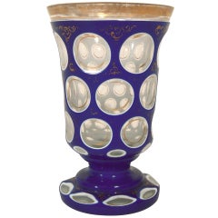 19th C Graphic Cobalt Cut to Clear Crystal Vase