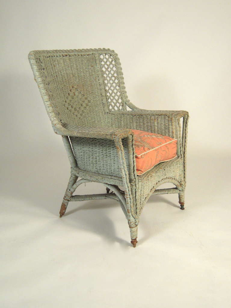 celadon green painted wicker chair at 1stdibs
