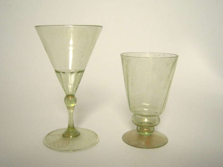 Set Of Venetian Green And Gold Hand Blown Water And Wine