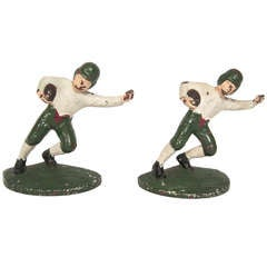 1920s Cast Iron Football Player Bookends