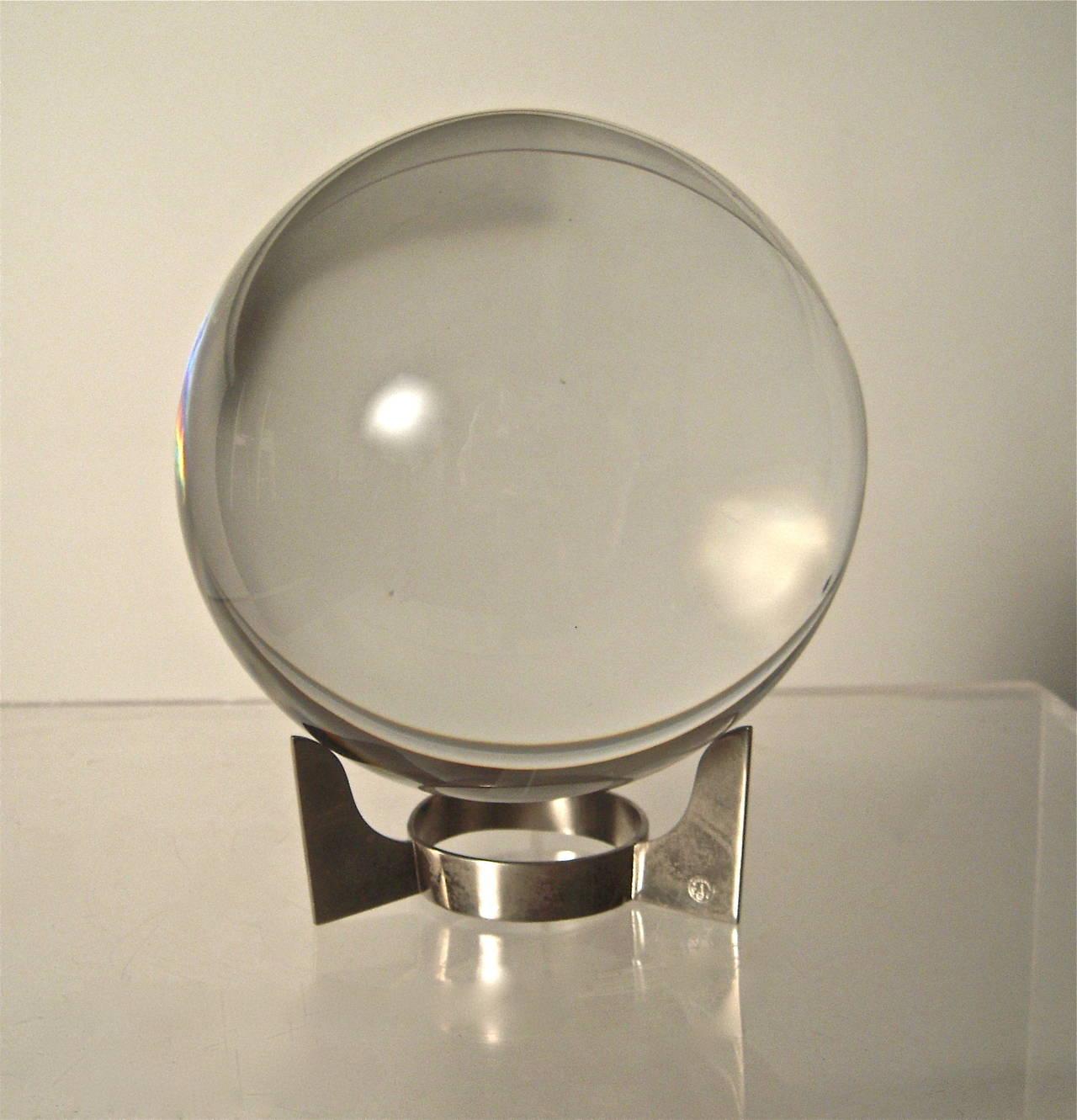Large Baccarat Sirius Crystal Ball On Stand At 1stdibs