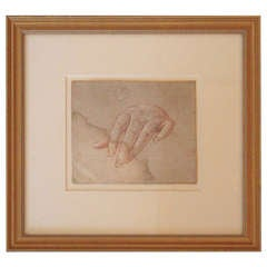 Decorative 19th Century Red Chalk French Drawing of a Hand