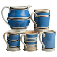 Collection of 19th Century Blue and White Staffordshire Mochaware Pottery