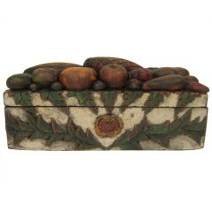 Rare Hand Carved and Painted Tropical Fruit Box Signed DADE ca. 1871