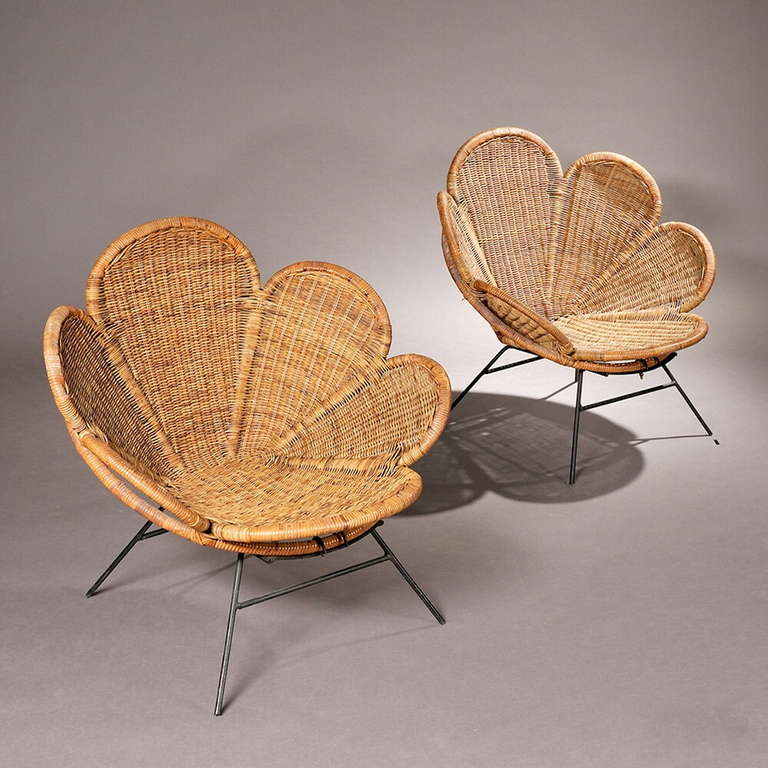 A pair of wicker garden or patio chairs with petal form seats and backs on black & Pair of Wicker Flower Form Garden or Patio Chairs at 1stdibs