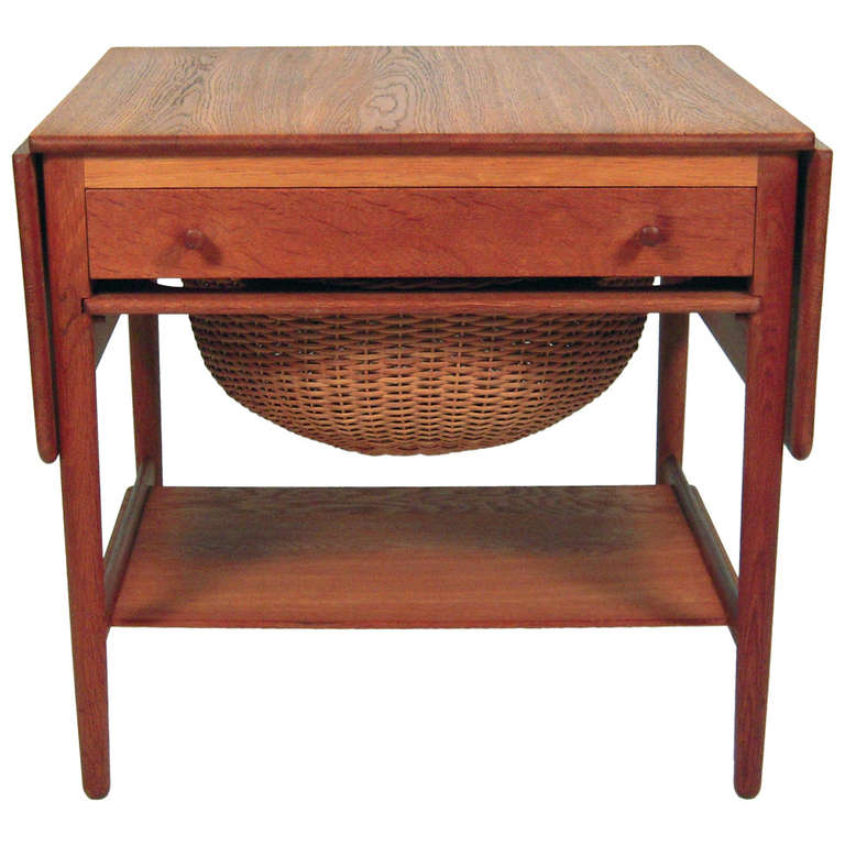 Hans Wegner Sewing or End Table with Rattan Basket at 1stdibs