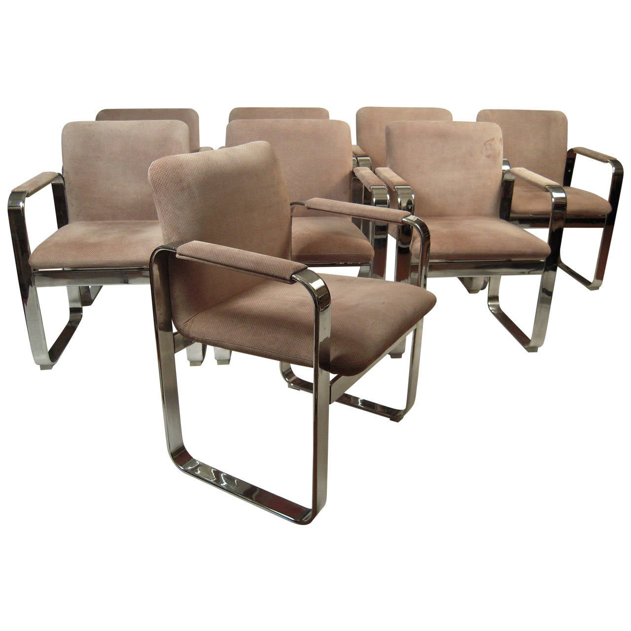 set of eight 1970s italian chrome and suede dining chairs