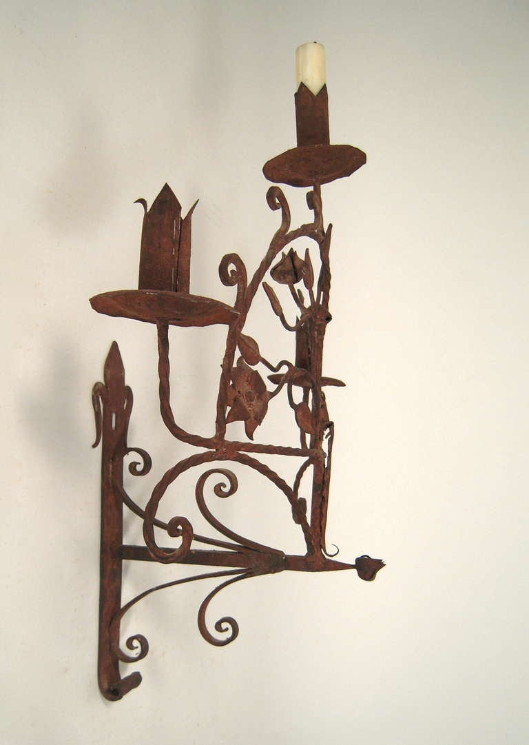 Spanish Iron Wall Sconces : Pair of Spanish Wrought Iron Sconces at 1stdibs