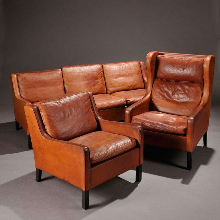 Leather Sofa Club Chair And Wing Chair By Borge Mogensen At Stdibs - Sofa club