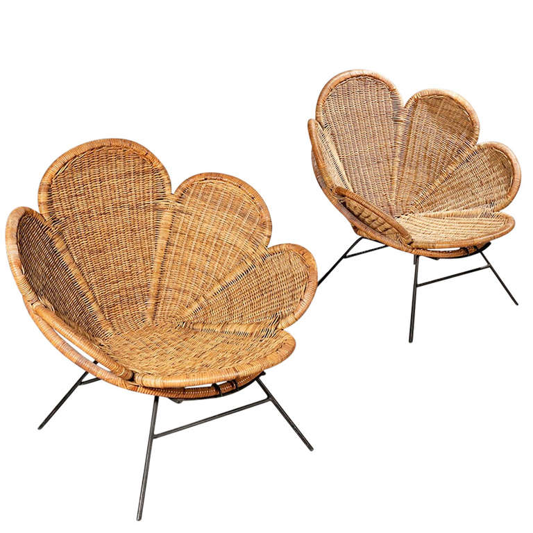Pair of Wicker Flower Form Garden or Patio Chairs 1