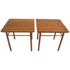 Pair of Graphic Striped Wood Occasional Tables
