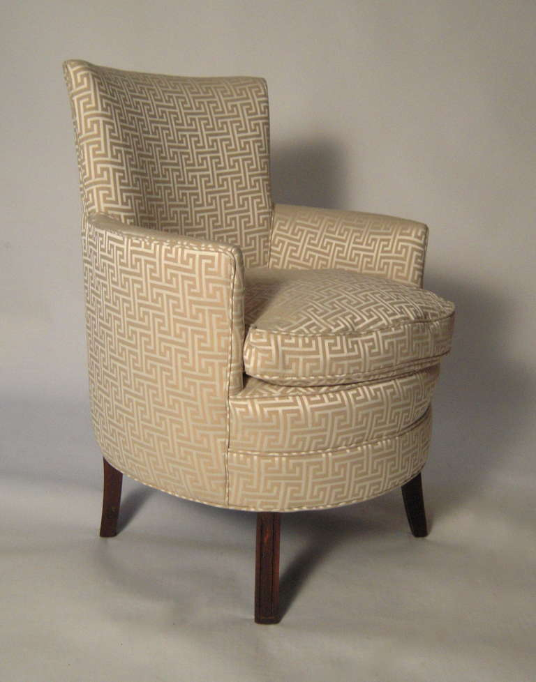 Stylish small curved upholstered slipper chair at 1stdibs for Small club chairs upholstered