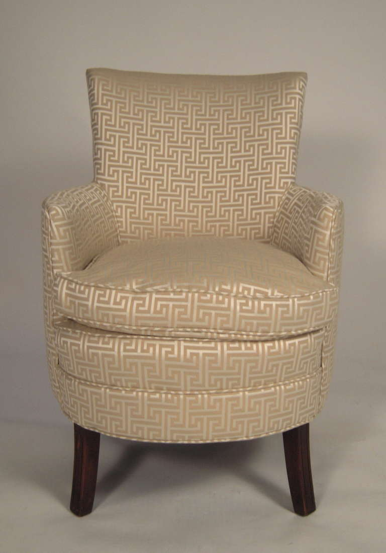 Stylish Small Curved Upholstered Slipper Chair At 1stdibs