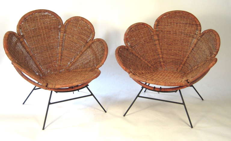 Pair of Wicker Flower Form Garden or Patio Chairs 3