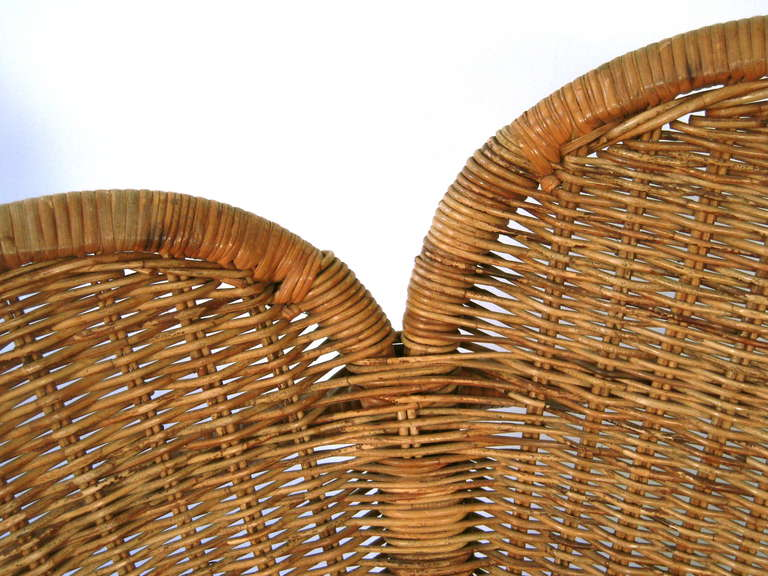 Pair of Wicker Flower Form Garden or Patio Chairs 7