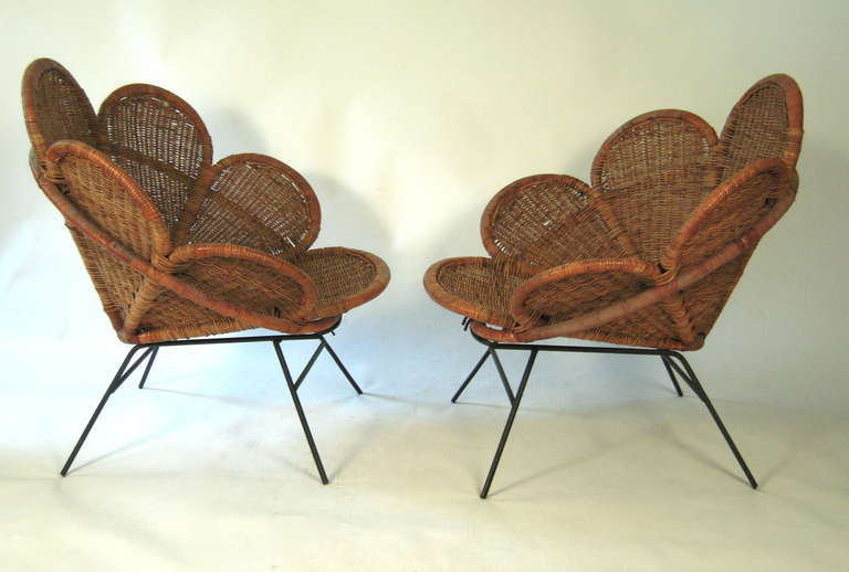 Pair of Wicker Flower Form Garden or Patio Chairs 4