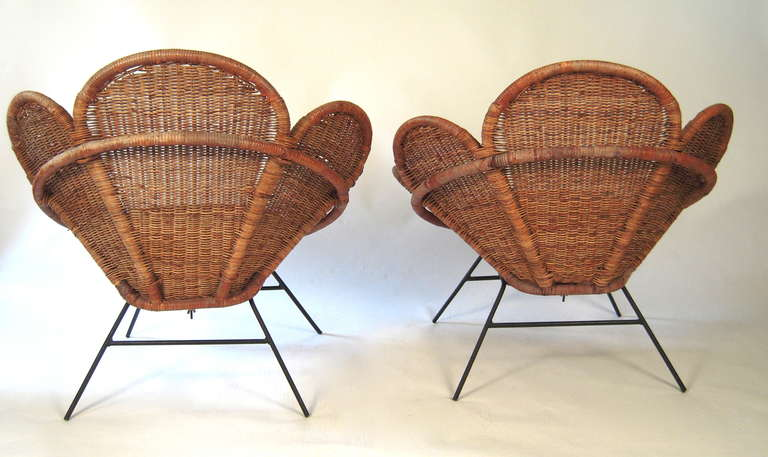 Pair of Wicker Flower Form Garden or Patio Chairs 5