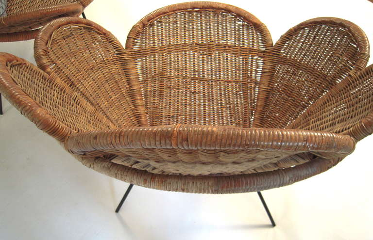 Pair Of Wicker Flower Form Garden Or Patio Chairs At 1stdibs