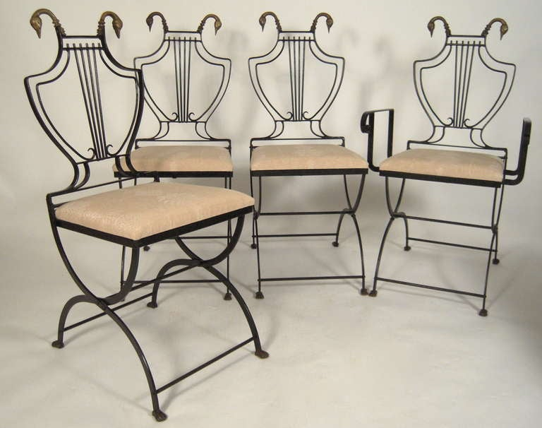 Iron Stylish Neoclassical Dining Table and Chairs For Sale