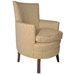 Stylish Small Curved Upholstered Slipper Chair