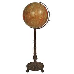 Decorative C. S. Hammond Floor Globe on Iron Stand