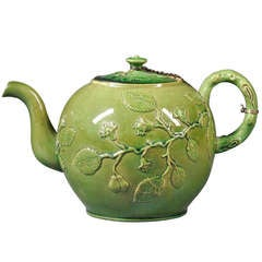A Large Staffordshire Green Glazed Punch or Tea Pot, circa 1770