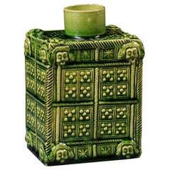 A Rare, Early  Staffordshire Pottery Green Glazed Tea Caddy